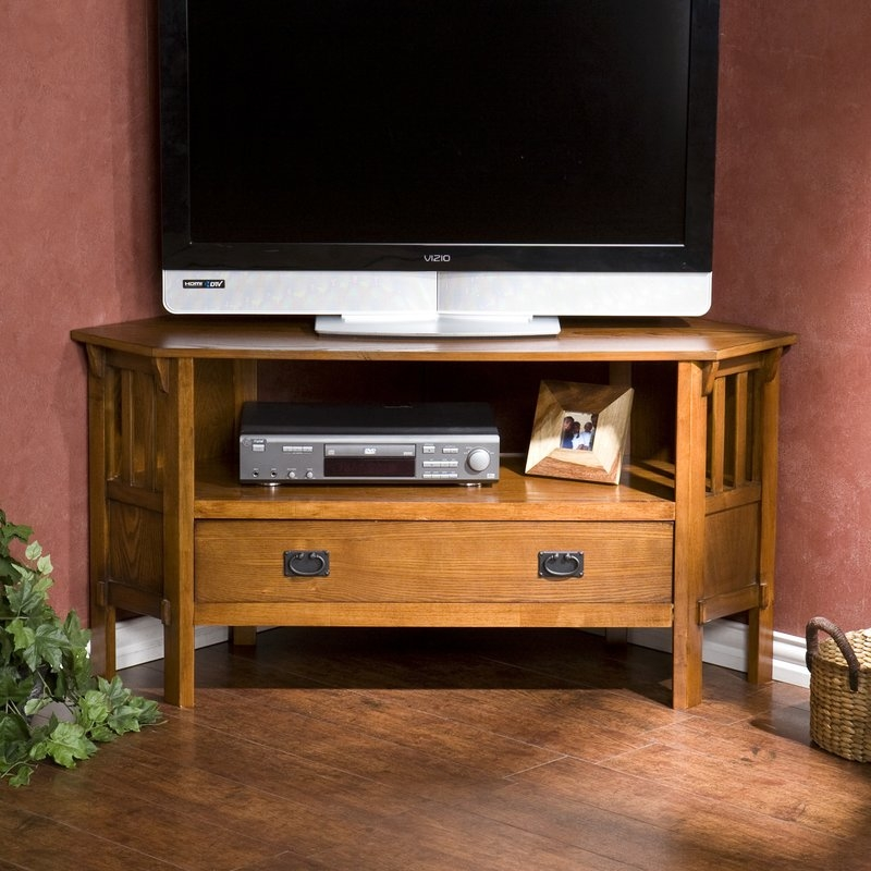 Excellent Premium Wayfair Corner TV Stands Throughout Loon Peak Easmor Corner 48 Tv Stand Reviews Wayfair (View 49 of 50)