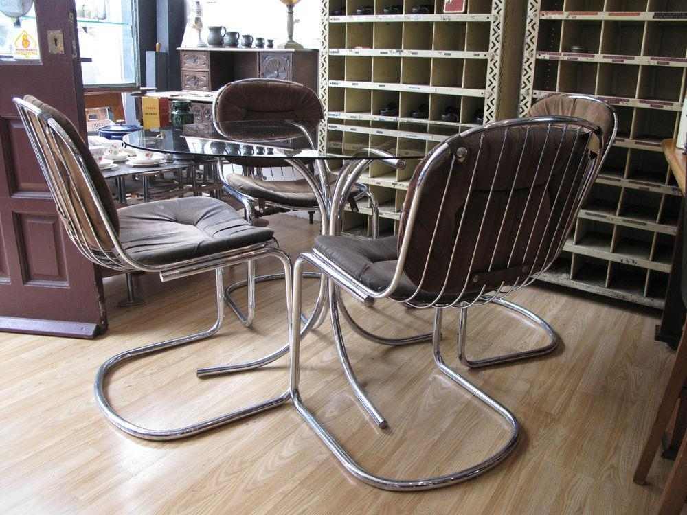 Excellent Retro Glass Dining Table And Chairs 72 On Discount With Retro Glass Dining Tables And Chairs (Image 4 of 20)