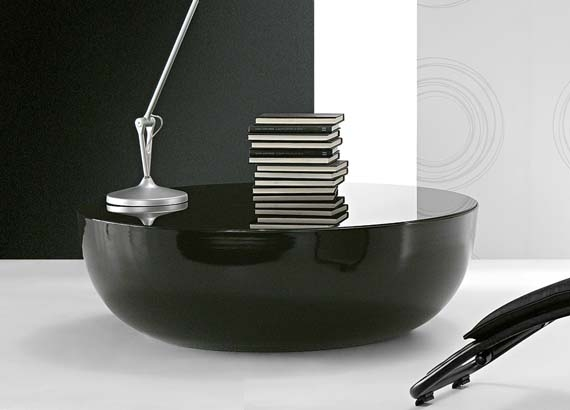 Excellent Series Of Black Circle Coffee Tables Throughout Coffee Table Round Black (Image 15 of 50)
