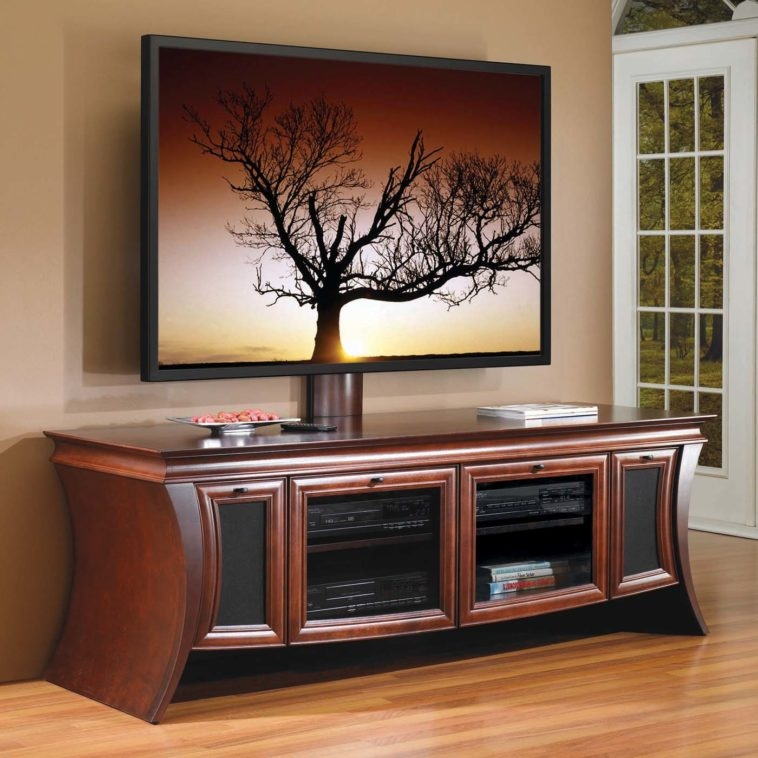 Excellent Series Of Brown TV Stands Inside Furniture Brown Wooden Curved Media Cabinet With Glass Door And (View 12 of 45)