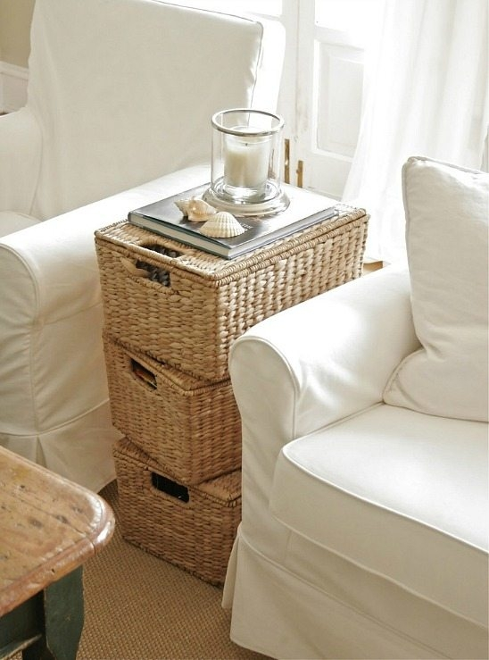 Excellent Series Of Coffee Table With Wicker Basket Storage Within Coastal Wicker Baskets Decorative Storage Ideas For A Beach House (Image 15 of 40)