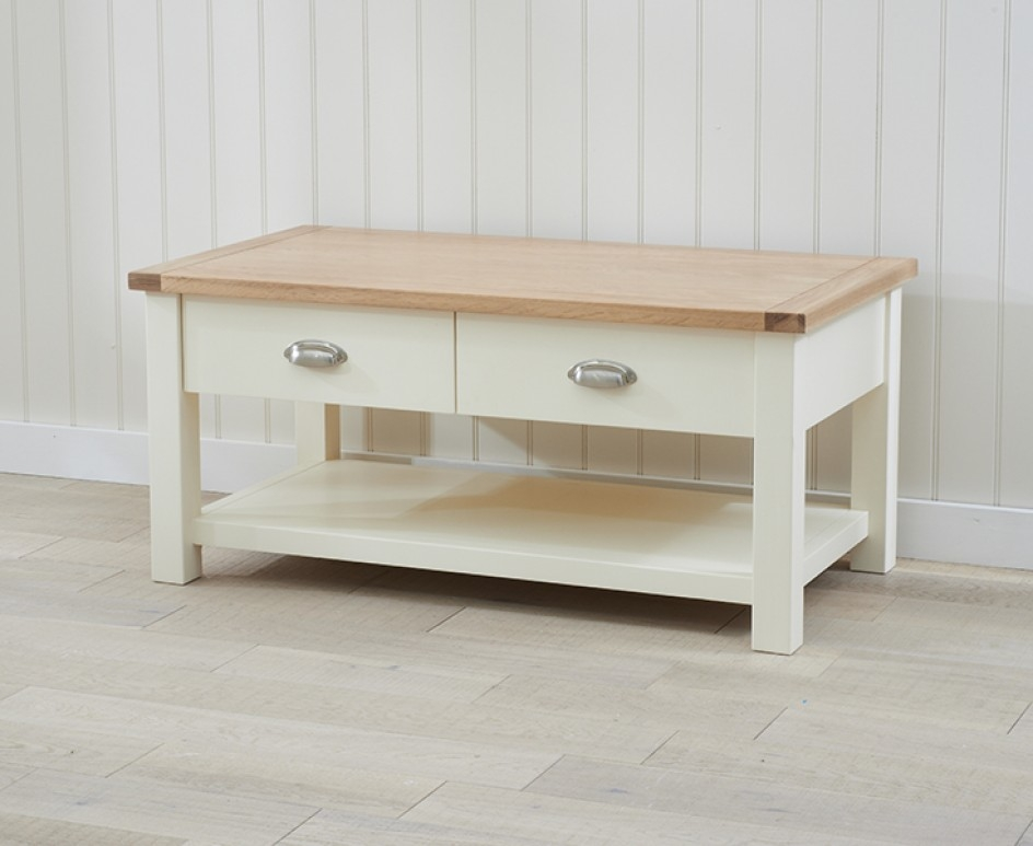 Excellent Series Of Cream And Oak Coffee Tables Intended For Somerset Oak And Cream Coffee Table The Great Furniture Trading (Image 14 of 40)