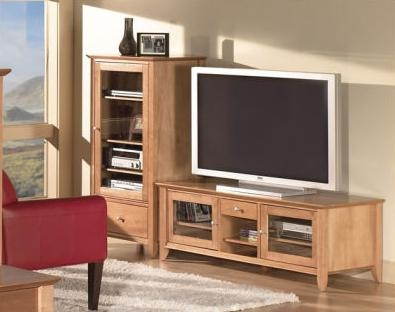 Excellent Series Of Light Cherry TV Stands Throughout Napa Flat Panel Tv Stand And Audio Cabinet With Glass Doors Home (Image 21 of 50)