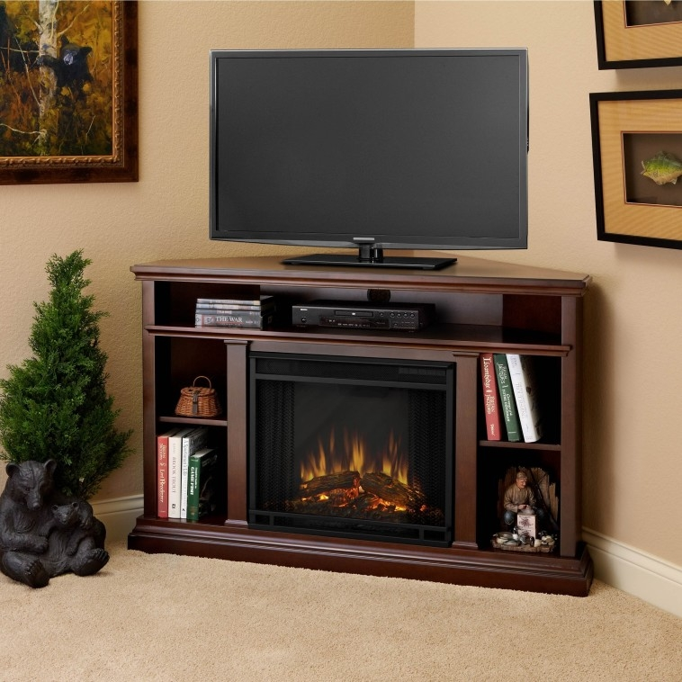 Excellent Series Of Mahogany Corner TV Stands With Furniture Black Painted Wooden Corner Tv Stand With Shelves And (Image 14 of 50)