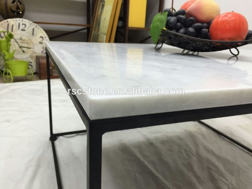 Excellent Series Of Marble And Metal Coffee Tables Pertaining To Cheap Modern Carrara White Marble Top Black Steel Coffee Table (Image 18 of 40)