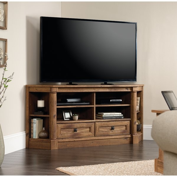 Excellent Series Of Oak Veneer TV Stands Throughout Dar Home Co Sagers Corner 61 Tv Stand Reviews Wayfair (Image 19 of 50)