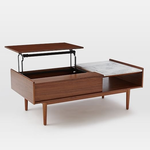 Excellent Series Of Raise Up Coffee Tables Throughout Mid Century Pop Up Storage Coffee Table Walnut West Elm (Image 14 of 40)