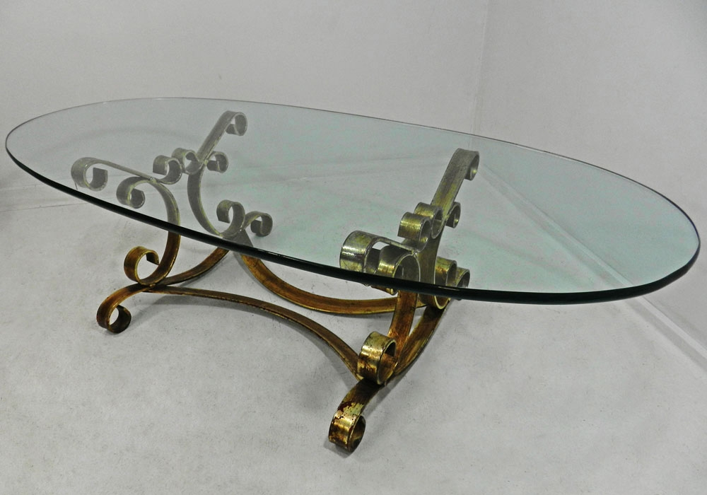 Excellent Series Of Retro Glass Top Coffee Tables Intended For Vtg Hollywood Regency Rustic Gilt Iron Oval Glass Coffee Cocktail (Image 11 of 40)