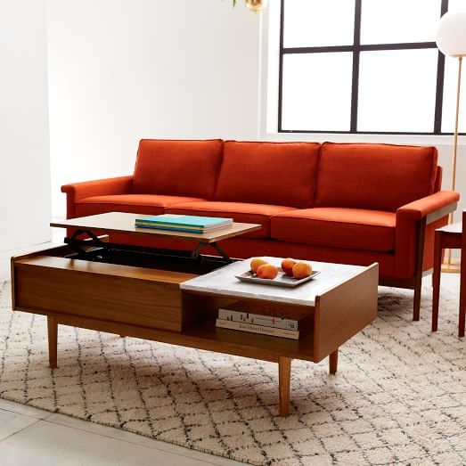 Excellent Series Of Swing Up Coffee Tables Throughout Mid Century Pop Up Storage Coffee Table Walnut West Elm (Image 11 of 40)