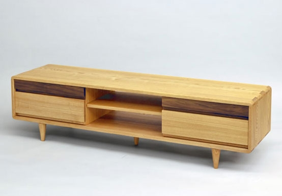 Excellent Series Of TV Stands With Rounded Corners Intended For Wood Gallery Itsuki Rakuten Global Market Tv Units Tv Sideboard (View 10 of 50)