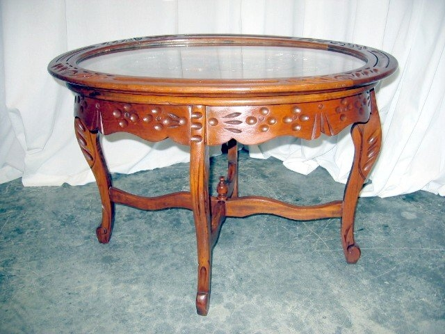 Excellent Series Of Vintage Glass Top Coffee Tables For Nice Antique Glass Top Walnut Tea Serving Coffee Table For Sale (View 3 of 50)