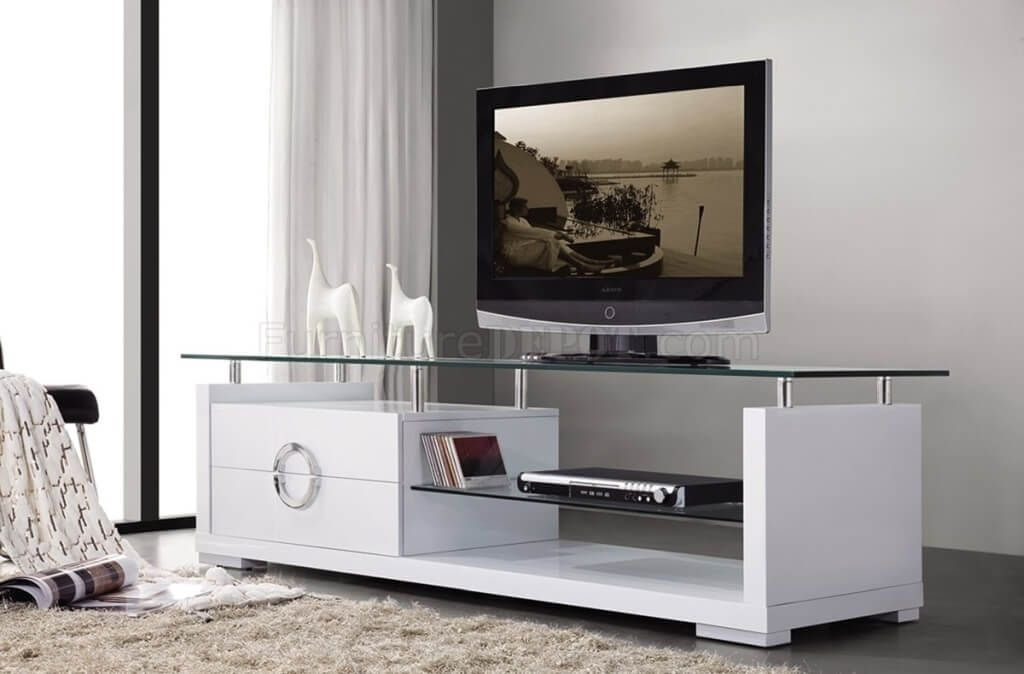Excellent Series Of White Contemporary TV Stands Regarding Furniture Curvy Wood And Tempered Glass Modern Tv Stands With (Image 13 of 50)