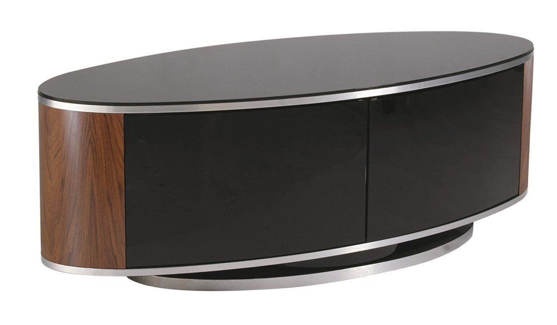 Excellent Top Black Oval TV Stands For Mda Luna High Gloss Black Walnut Oval Tv Cabinet (Image 14 of 50)