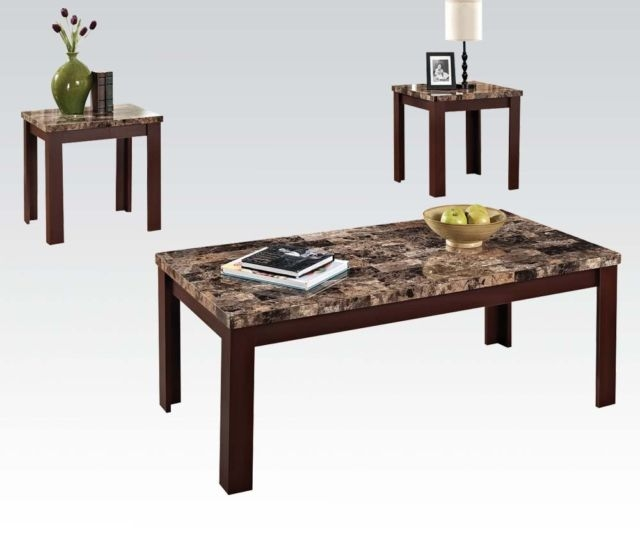 Excellent Top Cherry Wood Coffee Table Sets For Coffee Table Set End Tables Faux Marble Brown Cherry Living Room (Image 18 of 50)