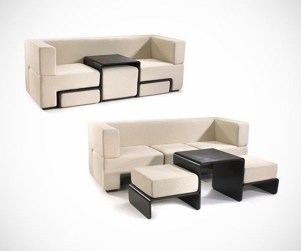 Excellent Top Coffee Table Footrests Regarding Slot Sofa With Coffee Table And Footrests (View 6 of 40)
