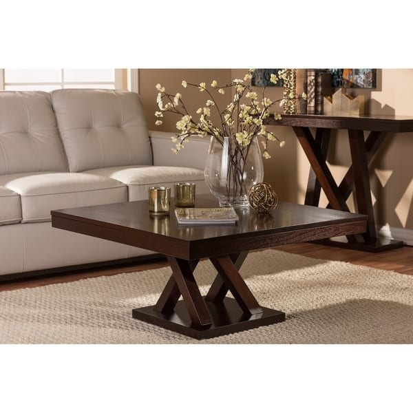 Excellent Top Dark Brown Coffee Tables With Regard To Modern Dark Brown Coffee Table Baxton Studio Free Shipping (View 12 of 50)