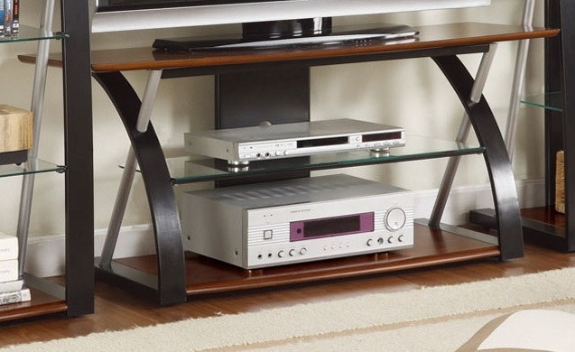 Excellent Top Dark Walnut TV Stands Throughout Contemporary Tv Stand 2 Tone Dark Walnut And Black With Optional (Image 17 of 50)