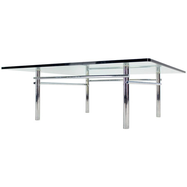 Excellent Top Glass Steel Coffee Tables Within Solid Chrome Base With Heavy Steel Bars And Square Glass Top (Image 15 of 50)