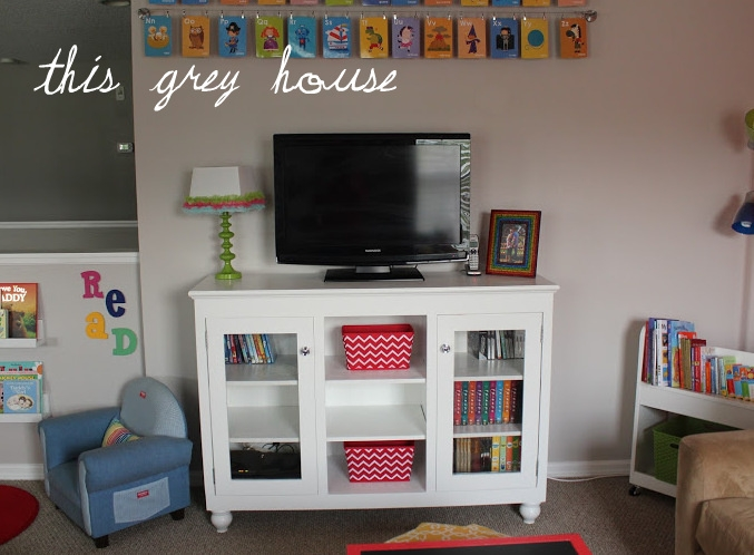 Excellent Top Playroom TV Stands In Our Bright And Fun Playroom The Details This Grey House (Image 9 of 50)
