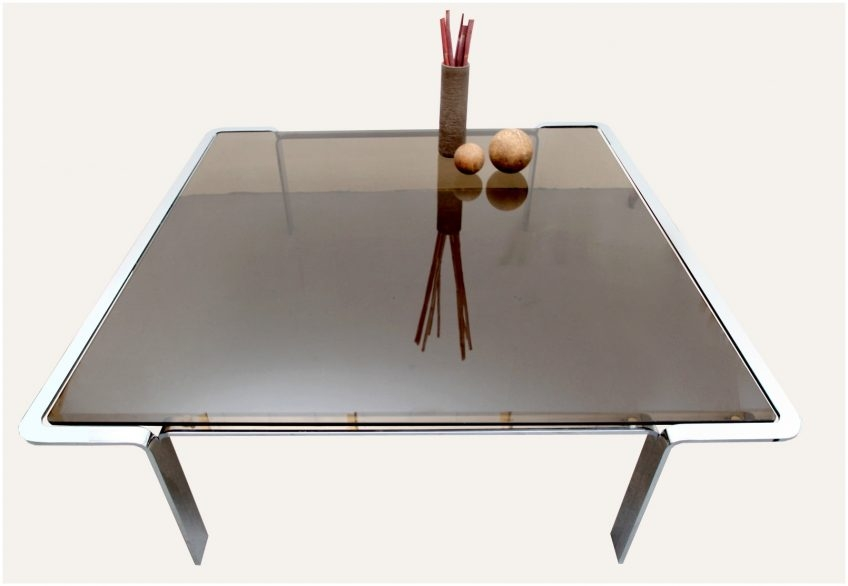 Excellent Top Retro Smoked Glass Coffee Tables Within Vintage Smoked Glass Coffee Table Cocinacentralco (View 32 of 40)