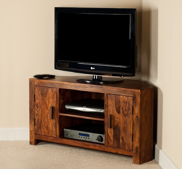 Excellent Top Sheesham Wood TV Stands For Solid Sheesham Wood Television Stand Corner Tv Unit Casa Bella (View 7 of 50)