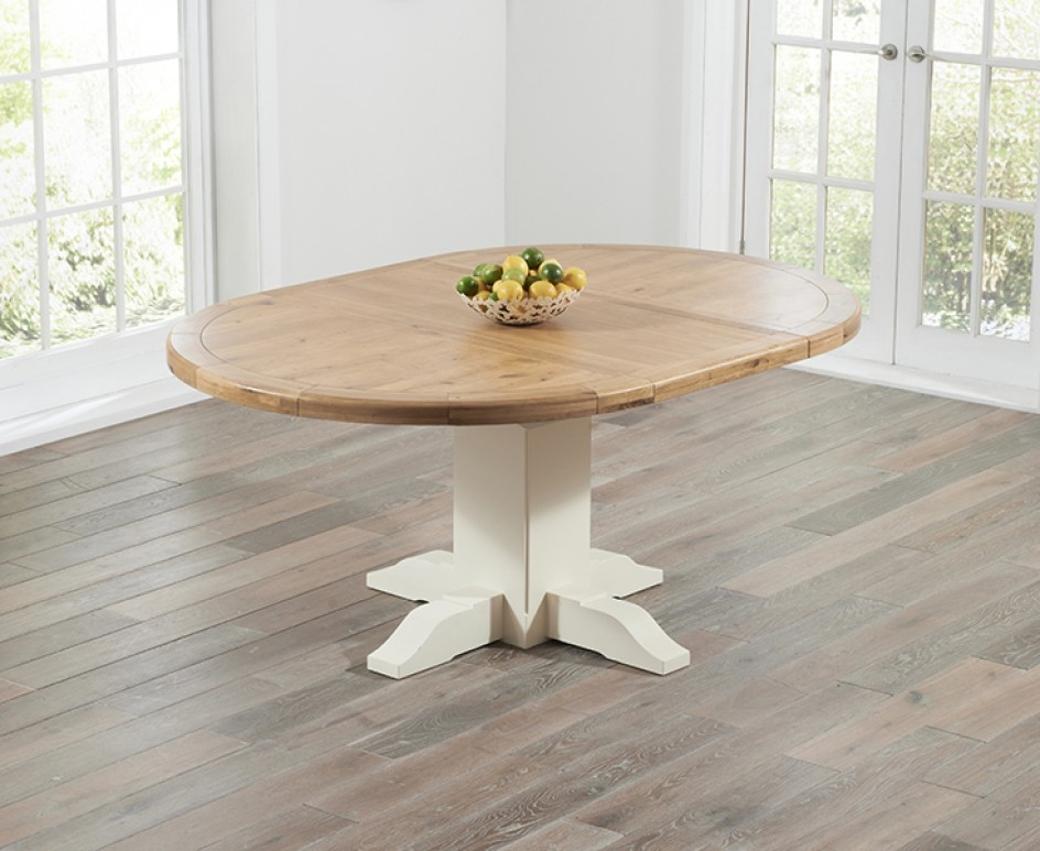 Excellent Top Torino Coffee Tables Throughout Torino Oak Cream Extending Pedestal Dining Table The Great (Image 15 of 40)