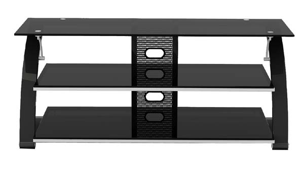 Excellent Trendy Black Glass TV Stands In Z Line Designs Vitoria 3 Shelf Black Glass Tv Audio Stand For  (Image 18 of 50)