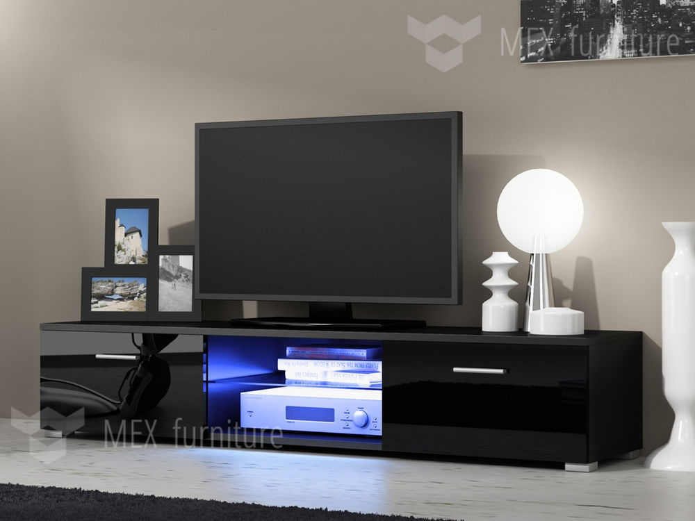 Excellent Trendy Black TV Cabinets With Doors Intended For High Tv Stands For Bedrooms (Image 16 of 50)