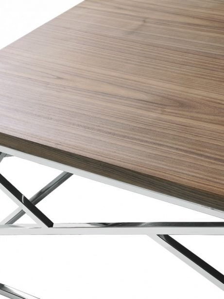 Excellent Trendy Chrome And Wood Coffee Tables In Aero Chrome Wood Coffee Table Modern Furniture Brickell Collection (View 30 of 50)
