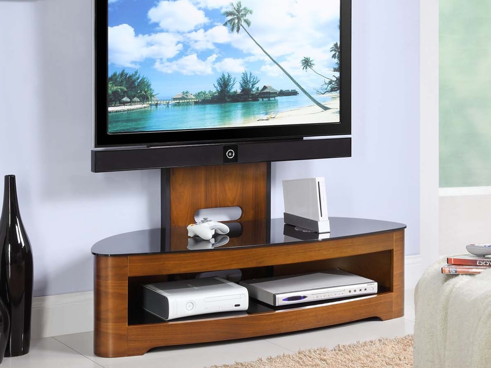 Excellent Trendy Glass And Oak TV Stands In Jual Cantilever Modern Tv Stand Glass Top With Shelf Walnut Or (Image 14 of 50)
