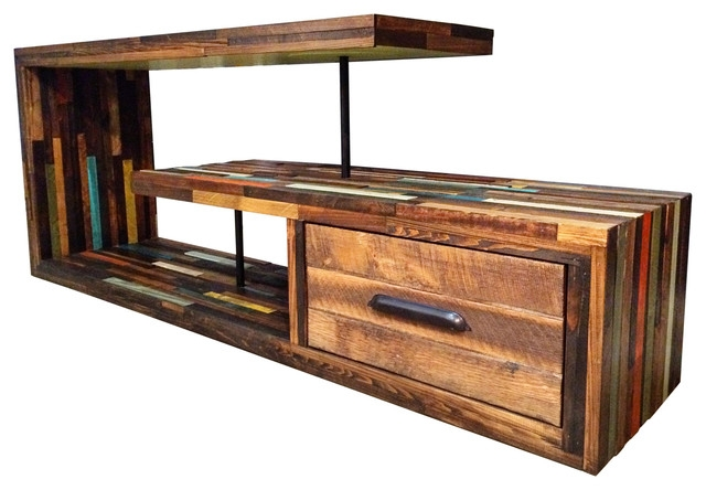 Excellent Trendy Hardwood TV Stands With Staggered Wood Media Console Rustic Entertainment Centers And (Image 19 of 50)