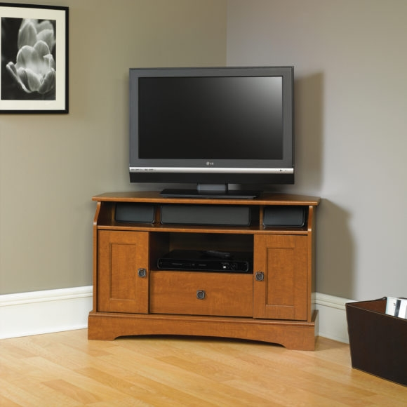 Excellent Trendy Modern Corner TV Stands Throughout Furniture Black Glass Corner Media Cabinet With Open Shelf And Tv (View 12 of 50)