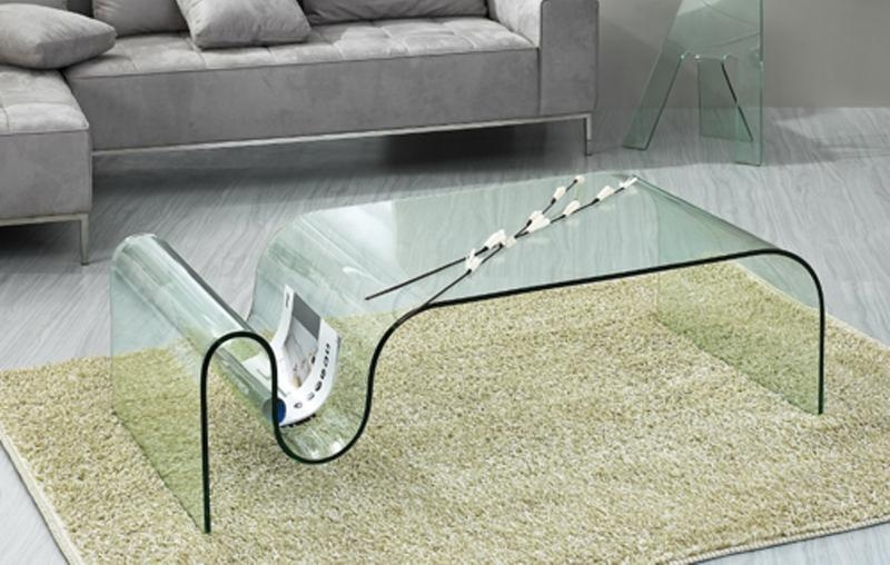 Excellent Trendy Modern Glass Coffee Tables Pertaining To All Glass Modern Coffee Table Dark Gray Fabric Sofa Glass (View 44 of 50)