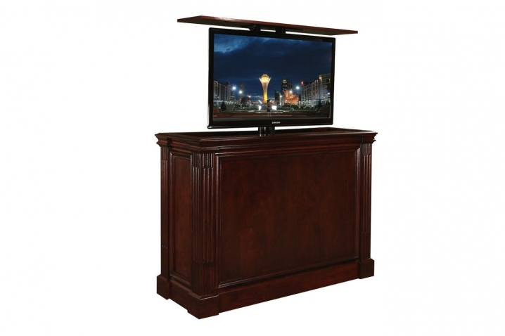 Excellent Trendy Pop Up TV Stands Pertaining To Pop Up Tv Stand Ritz Cabernet Custom Retractable Tv Stand (Image 16 of 50)