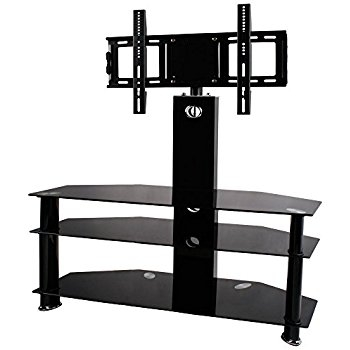 Excellent Trendy Swivel Black Glass TV Stands Throughout 1home Glass Tv Stand Cantilever With Swivel Bracket 3 Tiers For (Photo 16 of 50)
