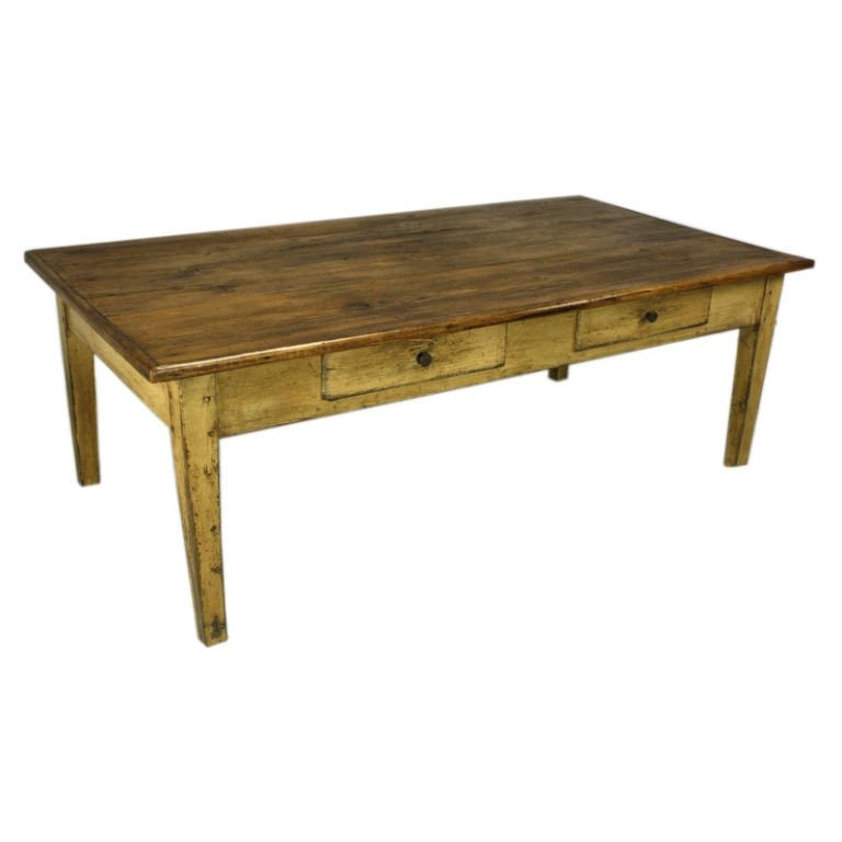 Excellent Unique Antique Pine Coffee Tables Throughout Large Antique French Pine Coffee Table With Old Painted Base At (View 34 of 50)