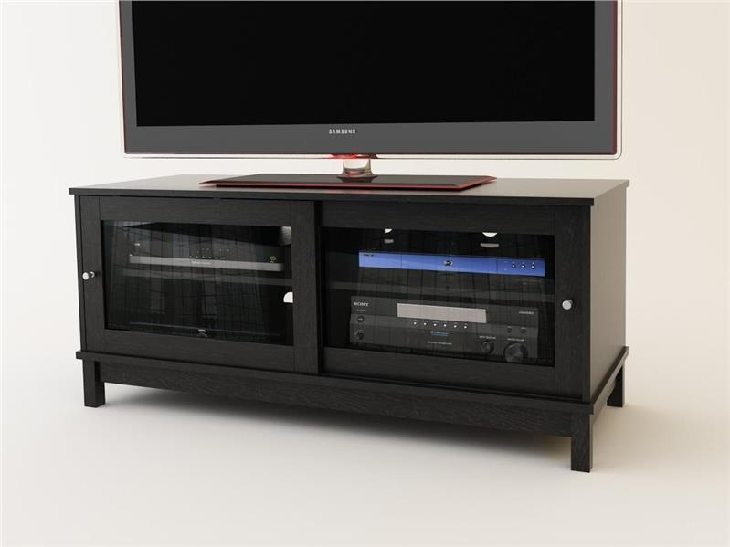 Excellent Unique Black TV Stands With Glass Doors Inside Tv Stand Black With Glass Doors Home Design Ideas (Image 16 of 50)