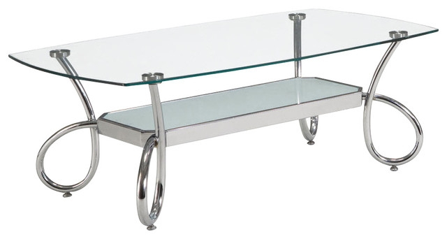 Excellent Unique Coffee Tables With Chrome Legs With Regard To Global Furniture Usa 559c Rectangular Clear Glass Coffee Table (Image 15 of 50)