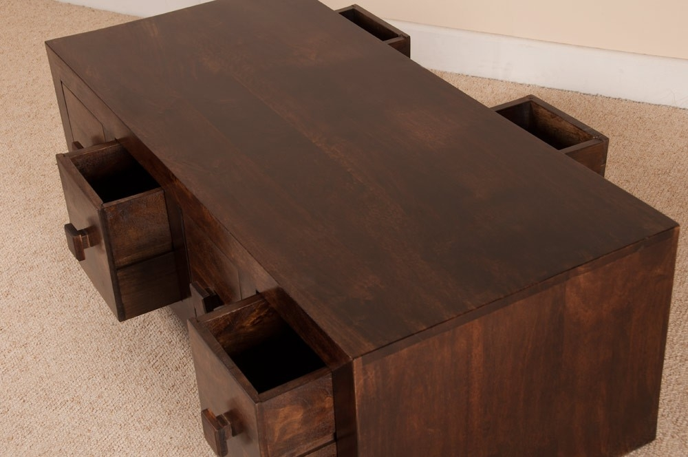 Excellent Unique Dark Mango Coffee Tables Intended For Dark Walnut Stain Mango Wood 8 Drawer Coffee Table Casa Bella (Image 10 of 40)