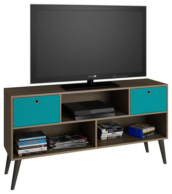 Excellent Unique TV Stands In Oak Inside Modern Classic Mid Century Tv Stand Entertainment Center Oak Aqua (View 26 of 50)