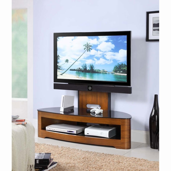 Excellent Unique White Cantilever TV Stands Throughout Curved Wooden Walnut Veneer Lcdplasma Cantilever Tv (Image 13 of 50)