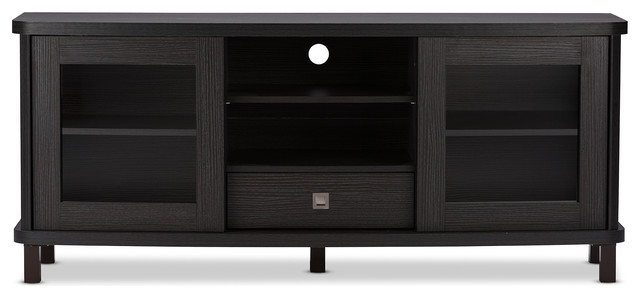 Excellent Variety Of Black TV Stands With Drawers With Walda Dark Brown Wood Tv Cabinet With 2 Sliding Doors And 1 Drawer (Image 14 of 50)