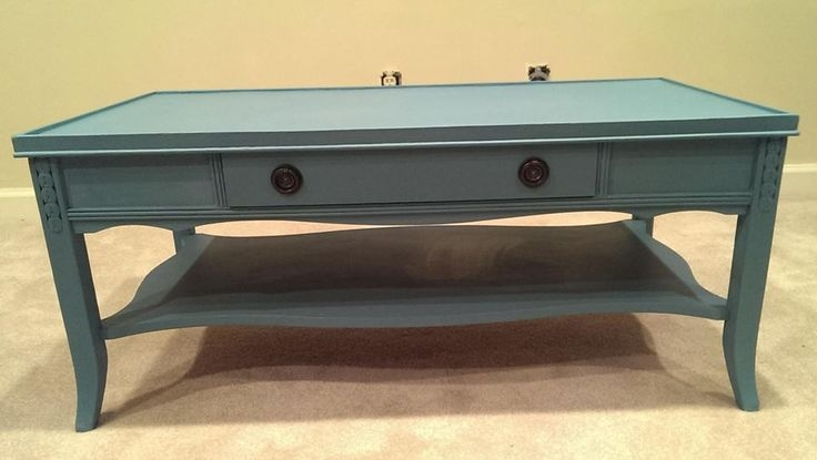 Excellent Variety Of Blue Coffee Tables Regarding Vintage Blue Chalk Painted Coffee Table My Style Vintage (Image 18 of 50)
