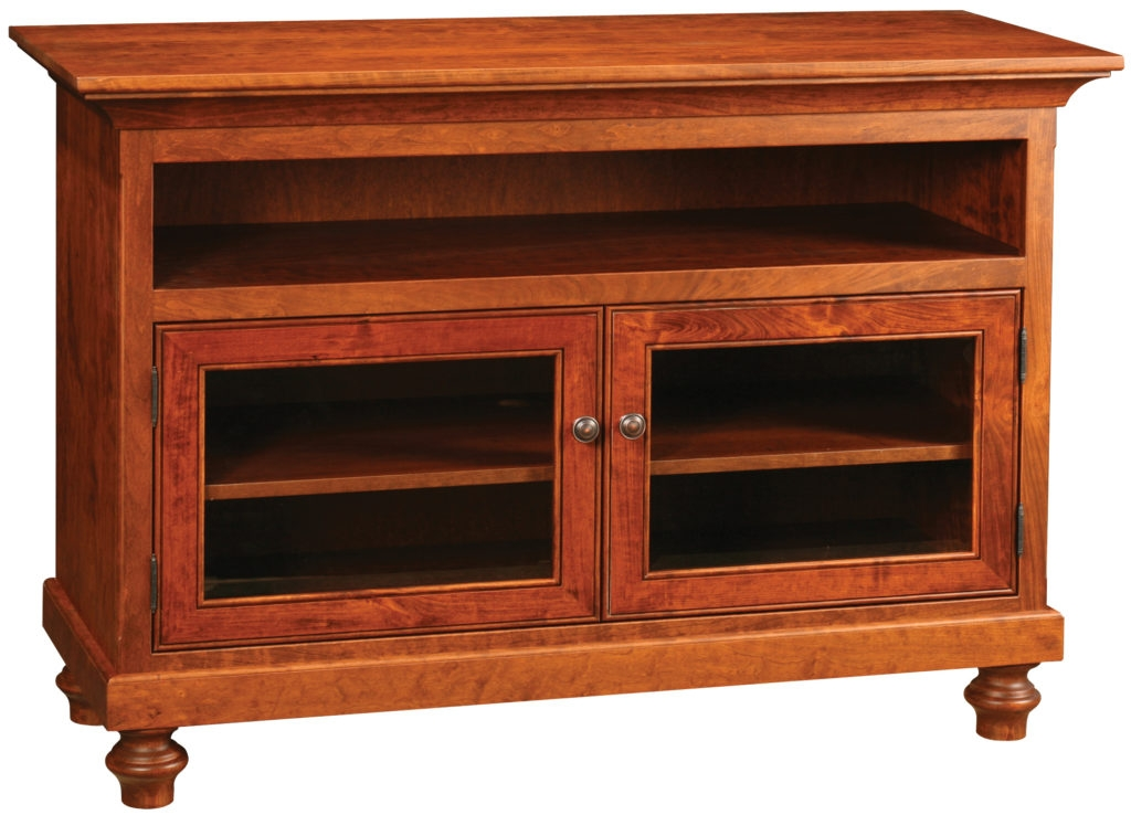 Excellent Variety Of Cherry Wood TV Stands Inside Solid Wood Amish Furniture Oceanside Flat Screen Console Tv Stand (Image 6 of 50)