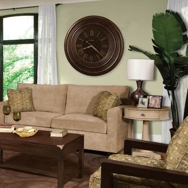 Excellent Variety Of Clock Coffee Tables Round Shaped Regarding Furniture Rustic Modern Living Room With L Shaped Soft Brown (Image 11 of 50)