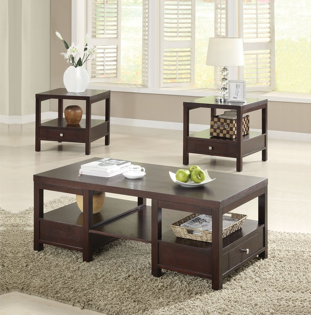 Excellent Variety Of Contemporary Coffee Table Sets For Modern Cherry Coffee Table Sets (Image 11 of 50)