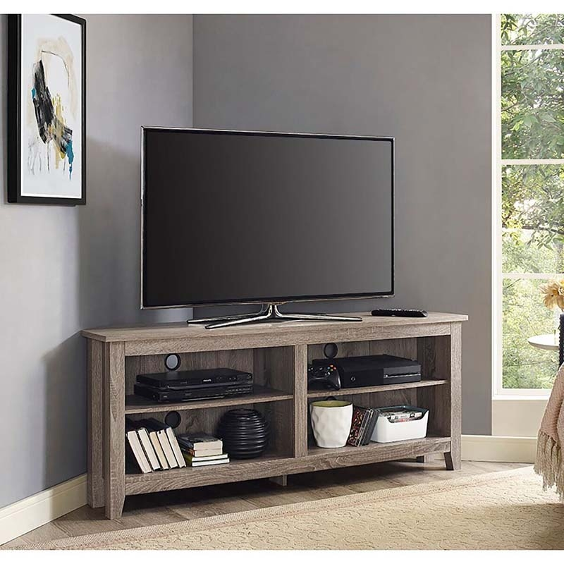 Excellent Variety Of Corner TV Stands For 60 Inch Flat Screens Regarding Walker Edison 60 Inch Corner Tv Stand Driftwood W58ccrag (Image 16 of 50)