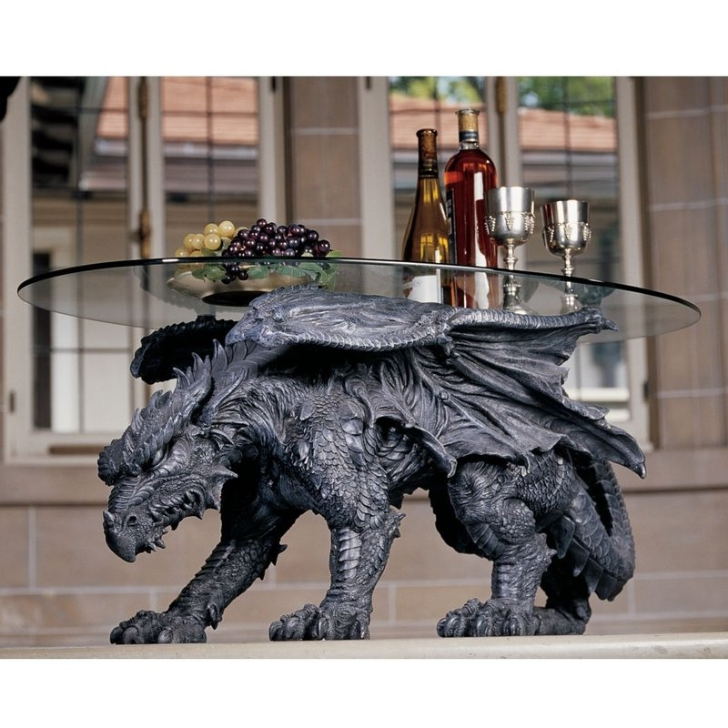 Excellent Variety Of Dragon Coffee Tables In Design Toscano Warwickshire Dragon Coffee Table With Glass Top (Image 19 of 50)