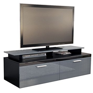 Excellent Variety Of Gloss TV Stands Throughout Tv Stand Unit Atlanta Carcass In Black Matt Front In Grey High (Image 20 of 50)