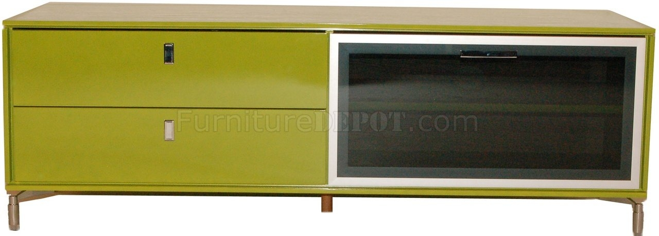 Excellent Variety Of Green TV Stands Throughout Green High Gloss Finish Modern Tv Stand Wpull Down Glass Door (Image 16 of 50)